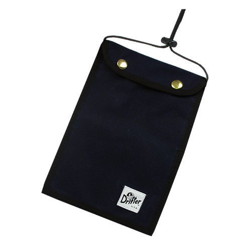 Drifter Neck Pouch - Navy (Waxed Cotton)