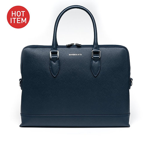 Maverick & Co. NAVY METROPOLITAN SLIM BRIEFCASE