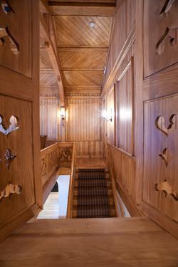Stairs third floor looking thru shutters