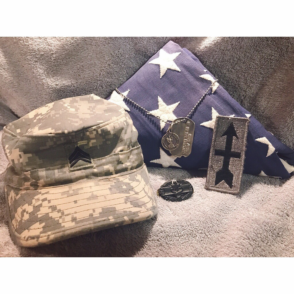 These items from veteran Brian Diedrich who spent 10 years in the Army National Guard, including two deployments that he carried his grandfathers WWll dog tag, a Saint Christopher pendant that his Grandmother gave him before he deployed, an American Flag that was given to him by his parents and younger brother (He carried the flag with him on every mission, both deployments, every where he went.) Brian also gave it to his sister who carried it with her during her deployment.