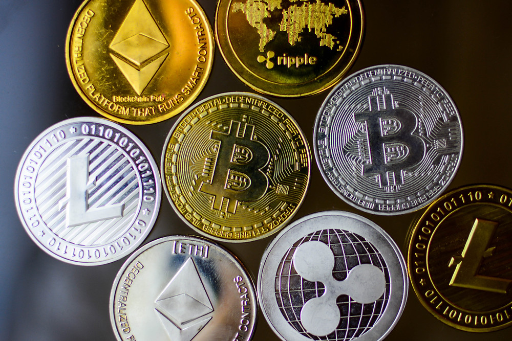 Picture of Bitcoin, Litecoin, Ehtereum, Ripple Cryptocurrency