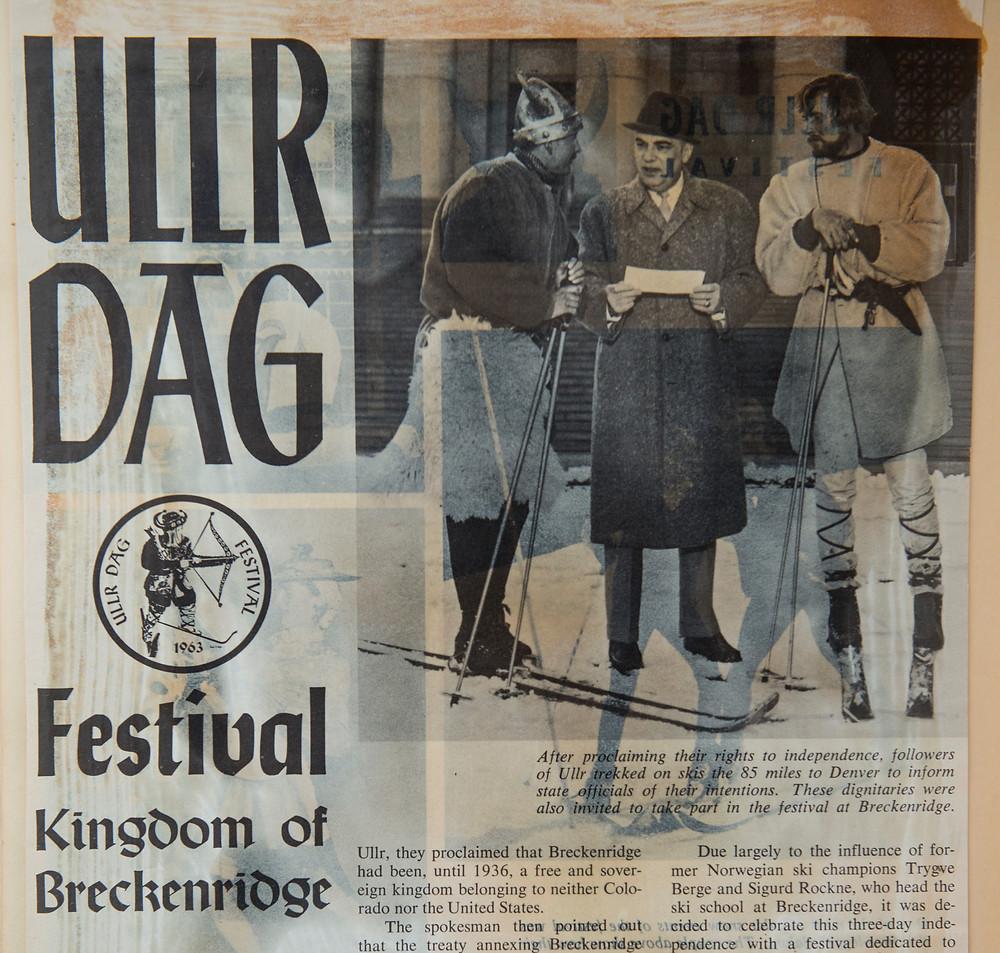 newspaper clipping of Ullr Dag Festival, Breckenridge