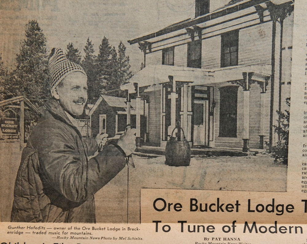 Guenther Hofeditz settled in Breckenridge and established the Ore Bucket as the best restaurant in Breckenridge, known for his steaks and chops.