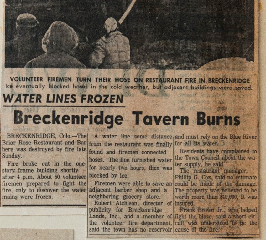 In 1964 Breckenridge's Briar Rose Restaurant burns to the ground as firemen hoses ice up and department lines freeze.