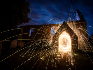 Steel wire wool spinning session and night shots of an abandoned Church