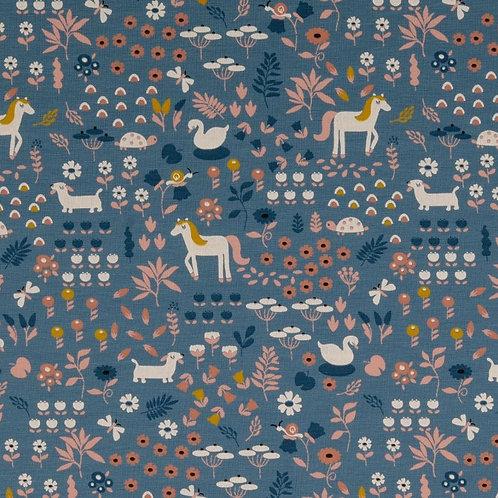 Organic Baumwoll Jersey Wiese/Tiere blau
