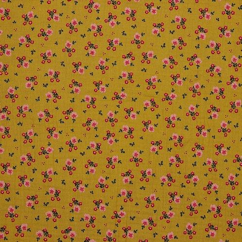 DOUBLE GAUZE GOTS SWEET FLOWERS - MUSTARD