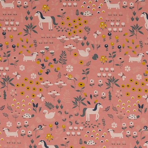 Organic Baumwoll Jersey Wiese/Tiere rosa