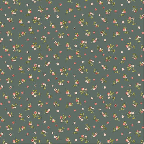 TENCEL MODAL JERSEY FLOWERS - OLD GREEN