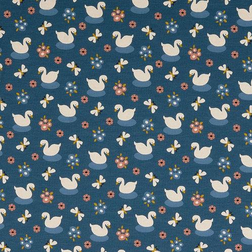 Organic Baumwoll Jersey Schwäne blau