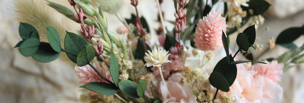 Centro de flor preservada yute rosa
