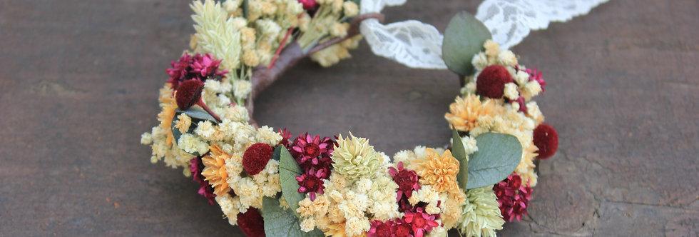 Pulsera Flor Preservada Silvestre Burdeos