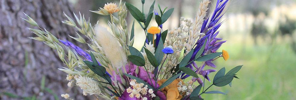 Maceta de flor preservada yute morada