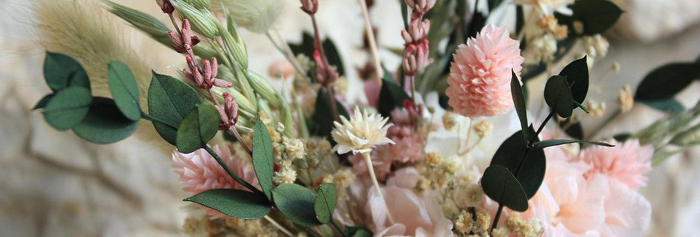 Maceta de flor preservada yute rosa