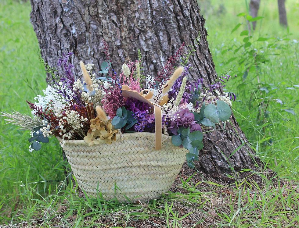 Capazo de flor preservada berenjena