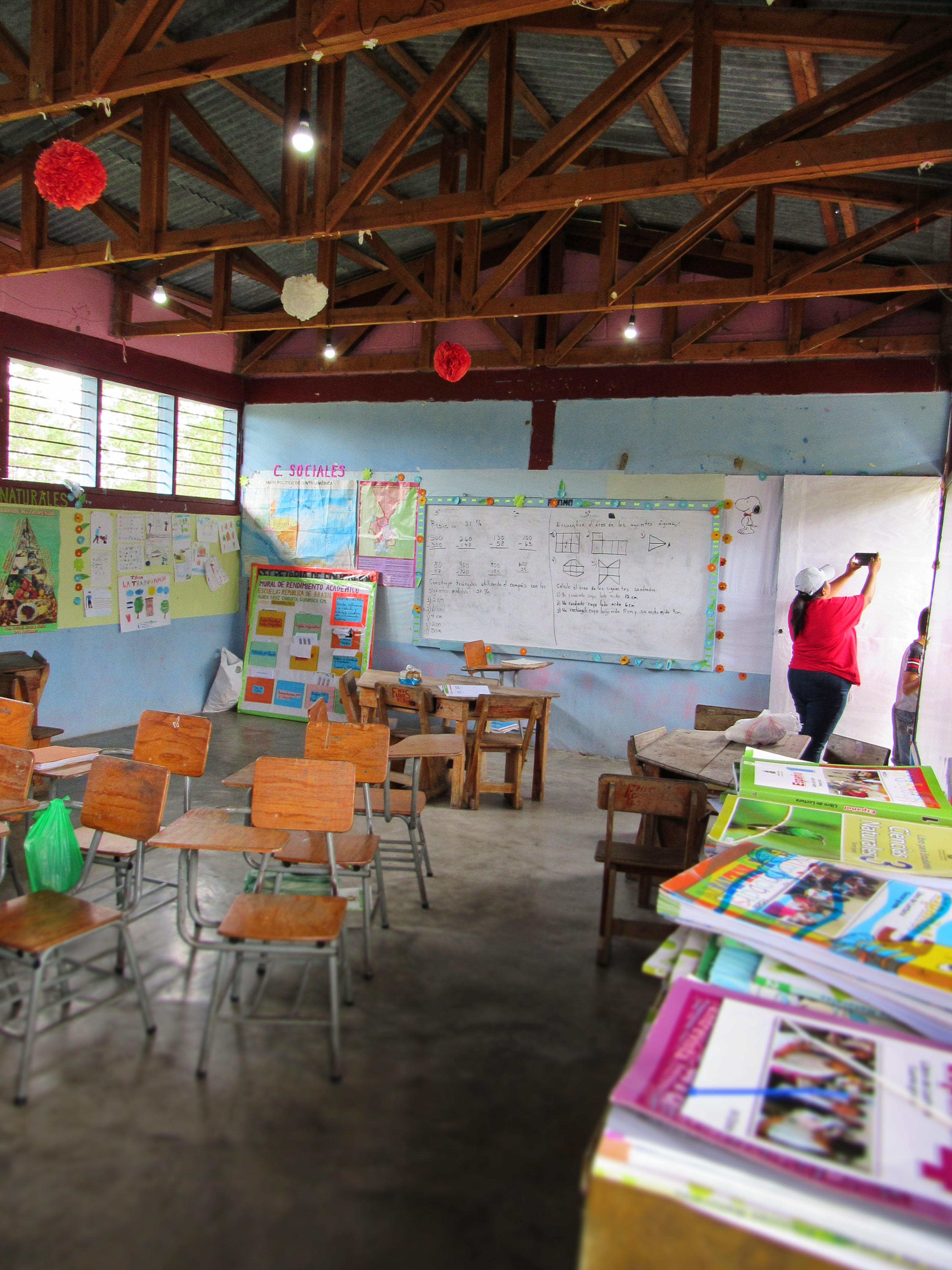 School with Lights Installed