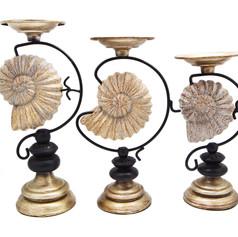 海螺燭台三件組