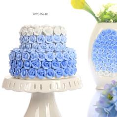 藍白玫瑰花器