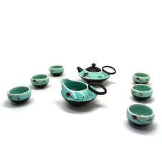 荷花彩繪茶具組
