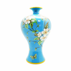 白花藍蘊 花器  (小口徑)
