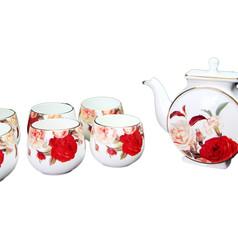 玫瑰彩繪茶具組