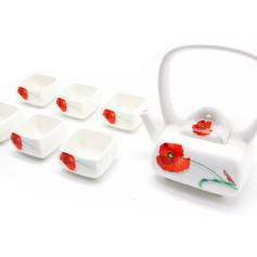 紅花彩繪茶具組