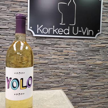 YOLO custom white wine label