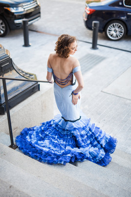 Open Back Ruffled Gown