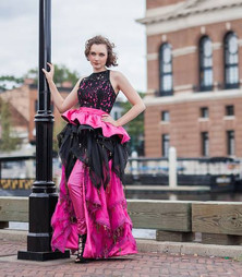 Pl-eather Pants, Lace Peplum Blouse, and Vintage Key Skirt.jpg