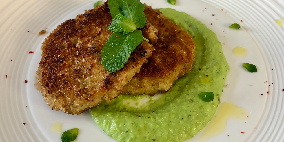 CLASS - Chicken & Veggie Fritters with Minty Green Pea Sauce