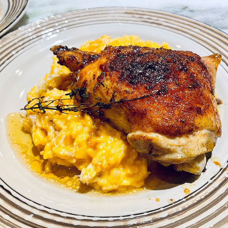 The Best Roasted Chicken with Pumpkin Risotto