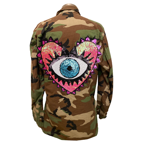 Protect Your Heart Evil Eye  Camo Jacket Pink