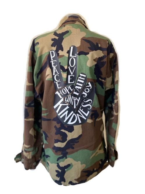 Peace Sign Camo Military Jacket