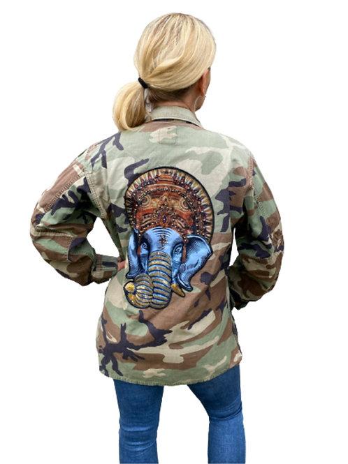 Ganesha Sequin Elephant Camo Army Jacket