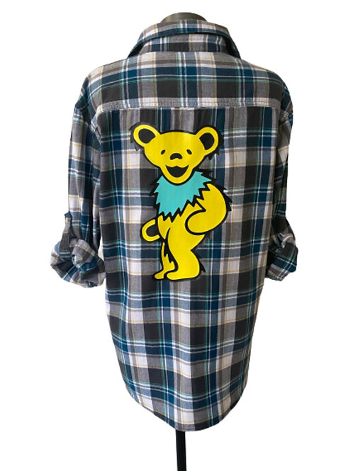 Yellow Dancing Bear Flannel - Large