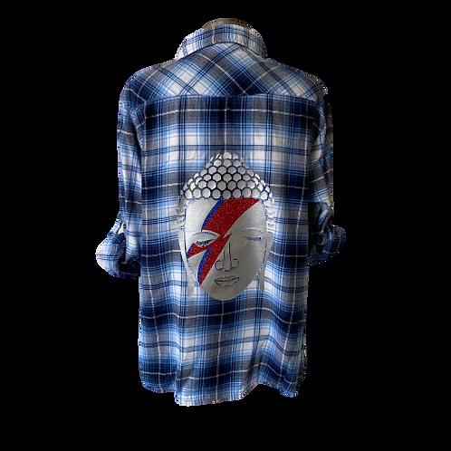 Vintage Buddha Bowie Silver Flannel XLARGE