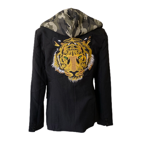 Tiger Eyes Zip Front Camo Hooded Blazer