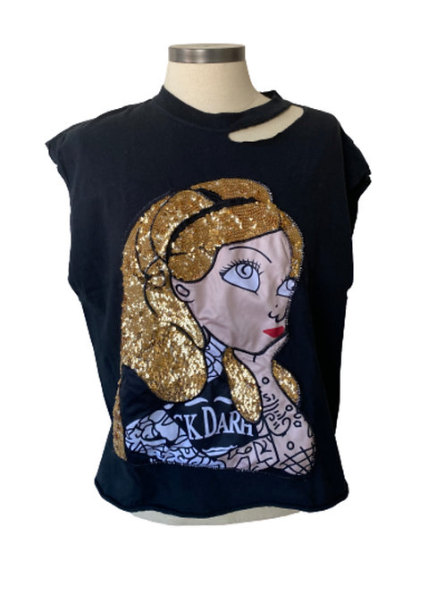 Punk Princess Distressed Tee Black