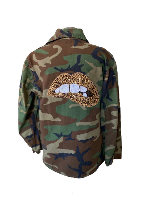 Camo Army Jacket with Leopard Lip