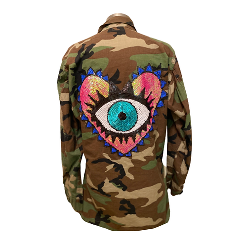 Protect Your Heart Evil Eye Army Jacket Blue