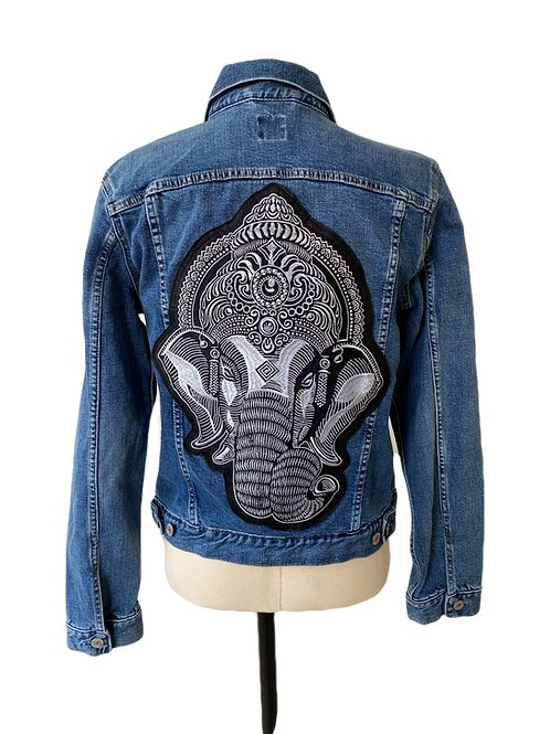 Silver Ganesha Denim Jacket