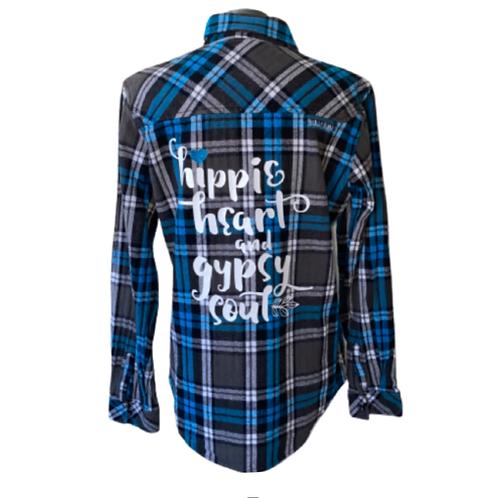 Vintage Hippie Heart Gypsy Soul Flannel SMALL