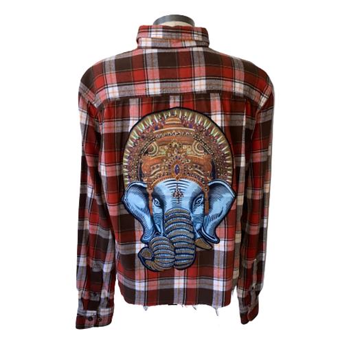 Vintage Ganesha Elephant Cropped Flannel MEDIUM