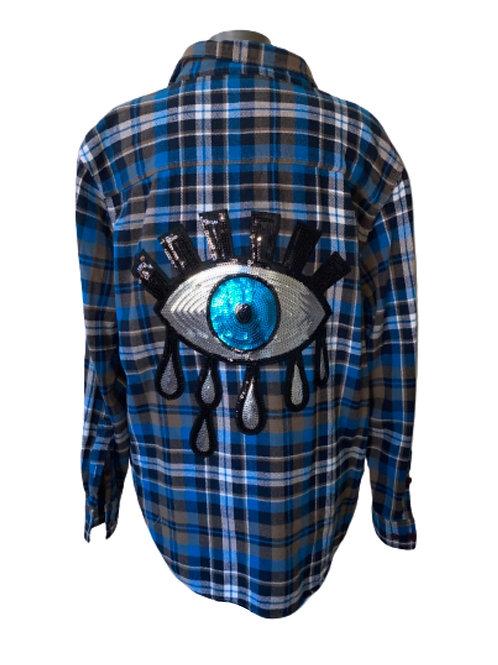 Vintage Evil Eye Flannel LARGE