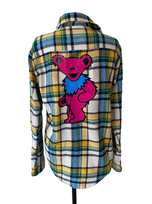 Pink Dancing Bear Flannel - Small