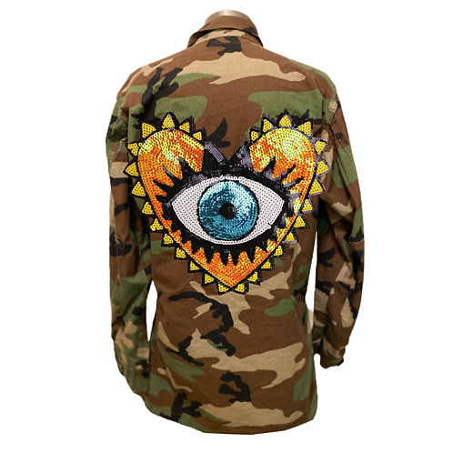 Protect Your Heart Evil Eye Camo Army Jacket Yellow