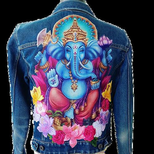 Blue Ganesha Lotus Flower Denim Jacket