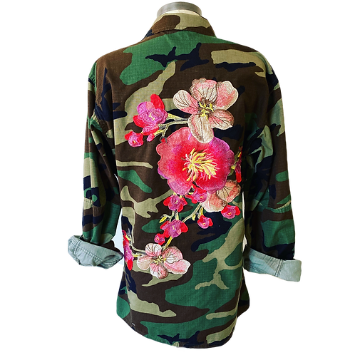 Embroidered Elegance Army Camouflage Jacket