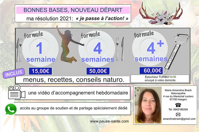 """Offre rééquilibrage """"Bonnes bases, nouveau départ"""" Marie-Amandine Brach Naturopathe. Pause-Santé Haegen Alsace France."""