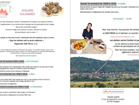 Les Ateliers culinaires Pause-Santé à Haegen. Marie-Amandine Brach Naturopathe
